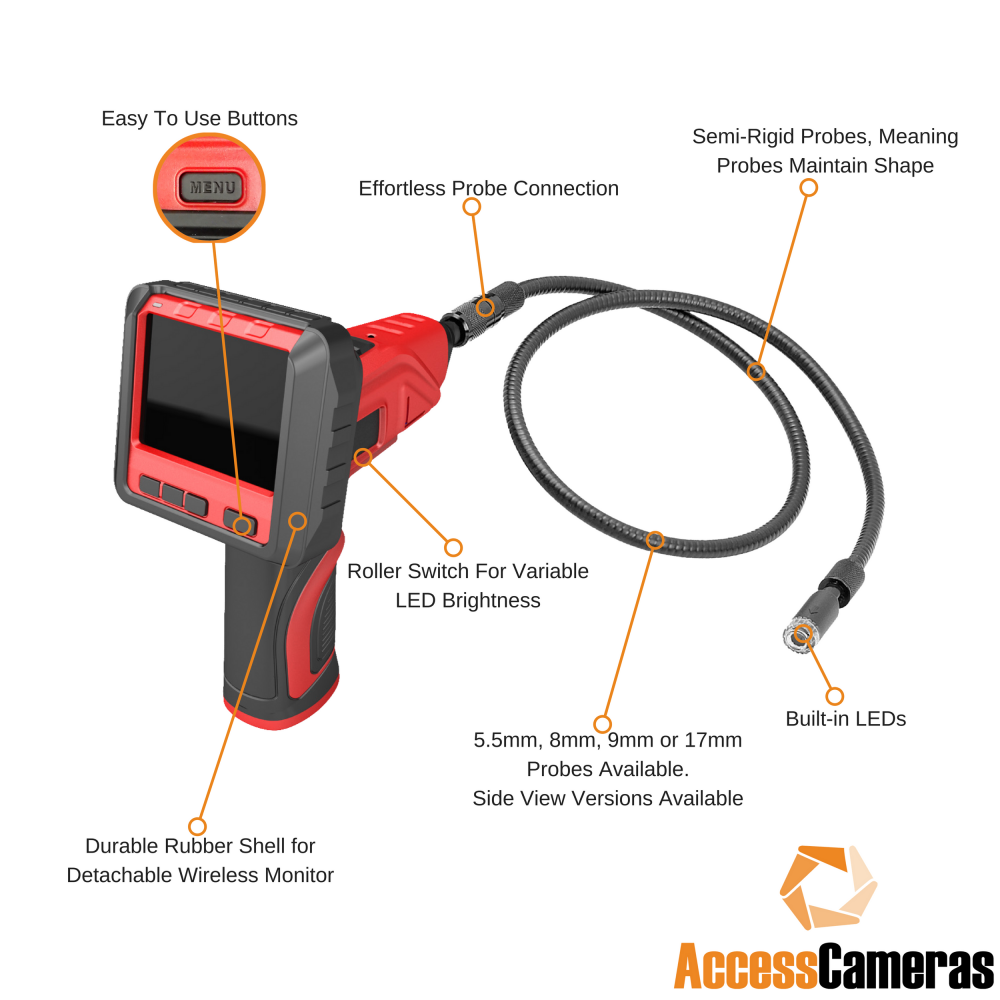 Pro Sight 2 Recordable Inspection Camera With 3 X Zoom 35 Side Wiring Diagram Detachable Wireless Screen